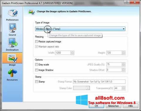 স্ক্রিনশট Gadwin PrintScreen Windows 8