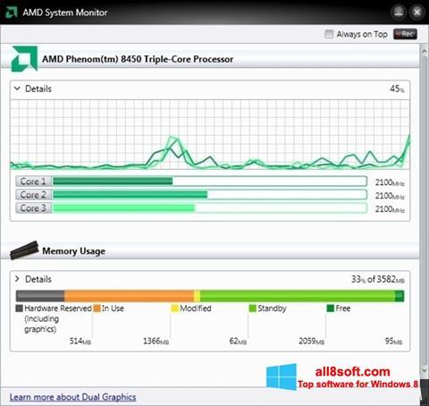 স্ক্রিনশট AMD System Monitor Windows 8