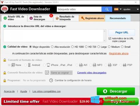 স্ক্রিনশট Fast Video Downloader Windows 8