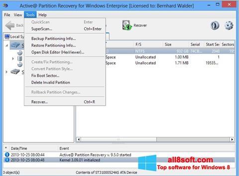 স্ক্রিনশট Active Partition Recovery Windows 8