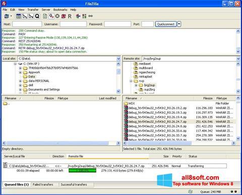 স্ক্রিনশট FileZilla Windows 8