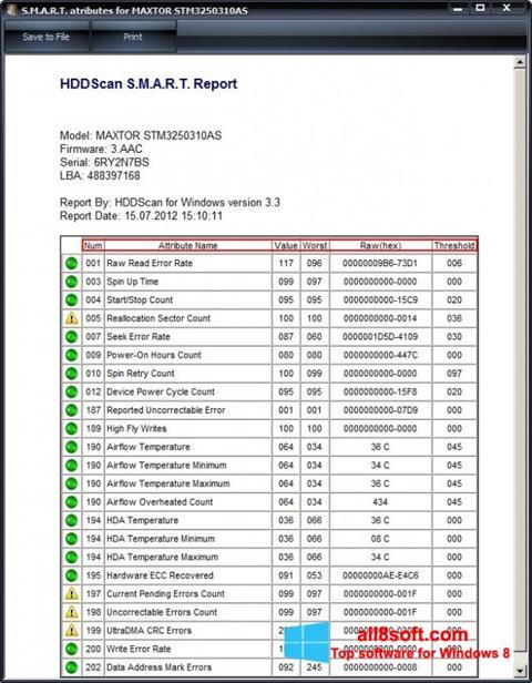 স্ক্রিনশট HDDScan Windows 8