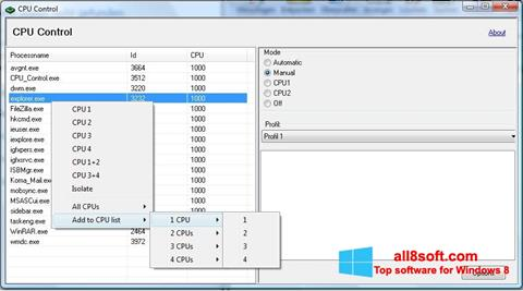 স্ক্রিনশট CPU-Control Windows 8