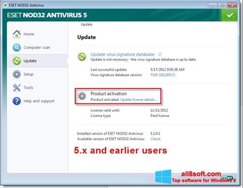 স্ক্রিনশট ESET NOD32 Windows 8