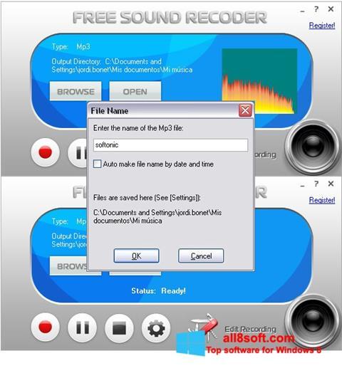 স্ক্রিনশট Free Sound Recorder Windows 8