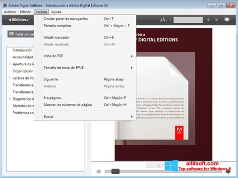 স্ক্রিনশট Adobe Digital Editions Windows 8