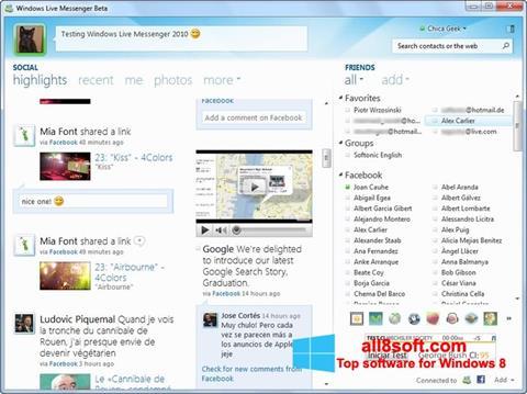 স্ক্রিনশট Windows Live Messenger Windows 8