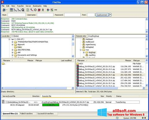 স্ক্রিনশট FileZilla Server Windows 8