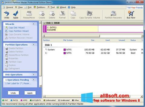 স্ক্রিনশট EASEUS Partition Master Windows 8
